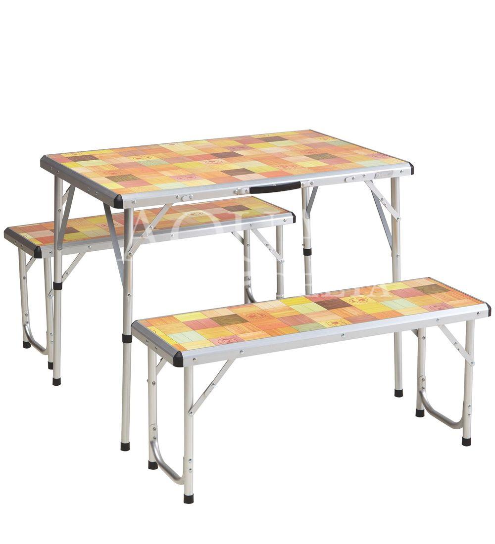 Mesa plegable con banquetas coleman tienda de outdoor for Mesa plegable de aluminio para camping